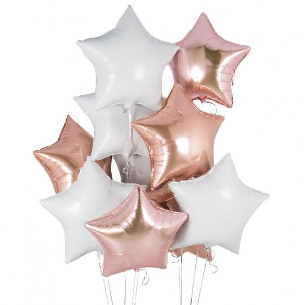 Shop Rose Gold Star Balloons Delivered Direct And Inflated Inside A Box Helium For Parties Events Gifts