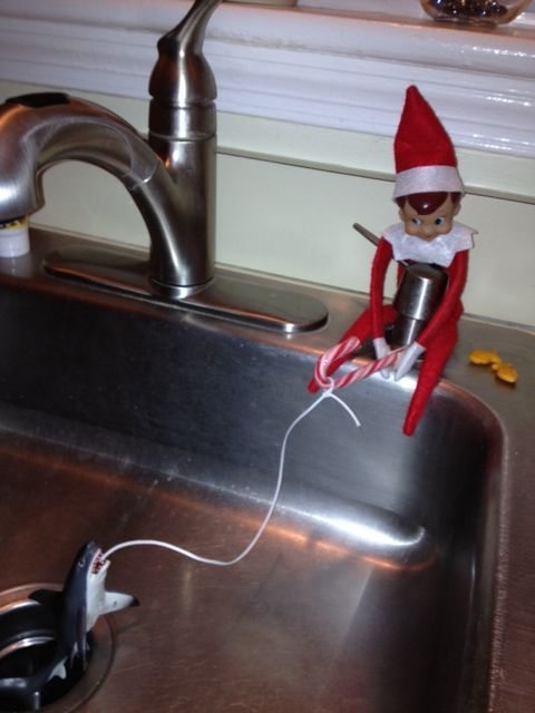 Elf On The Shelf Idea Fishing In The Kitchen Sink Doing