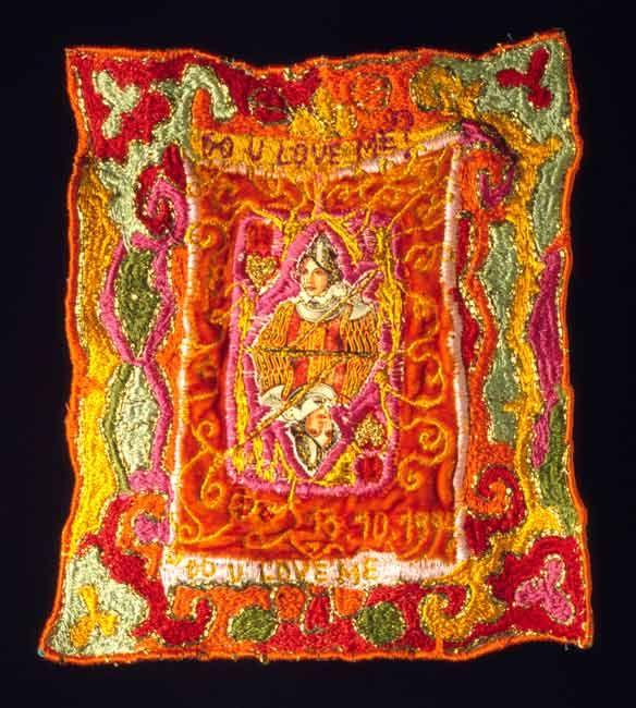 "Ulla Pohjola ~ ""Jack of hearts"" (1994) machine embroidery, dyeing; silkviscose velvet, second-hand fabric, cotton, polyester, viscose, a playing card 17.5 x 19 cm via ullapohjola.fi"