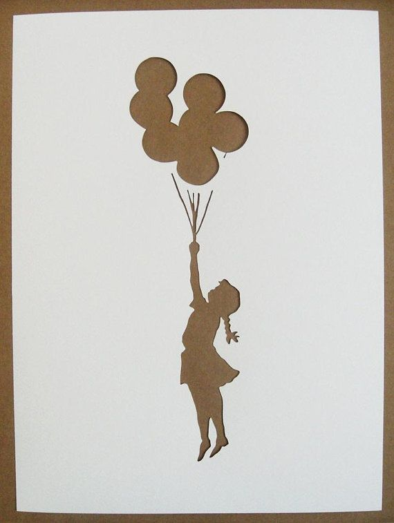 BANKSY Stencils Set Of Five Girl With Balloons, Rude Cop, Punk Lenin, Elephant Bomb, Space Girl With Bird Graffiti on Etsy, $20.00