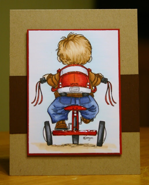 simple card with great image by Mo Maning ... luv the Copic coloring on this card, especially the hair ...