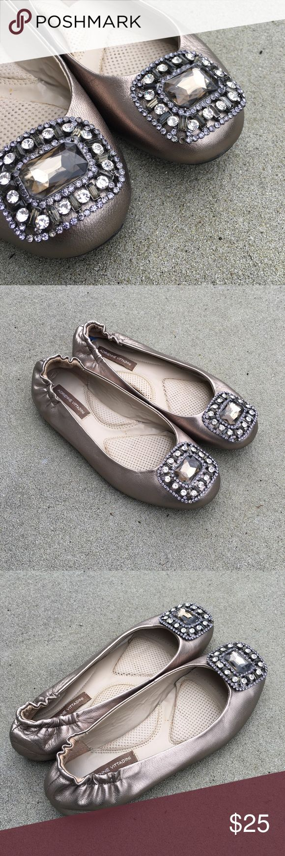 Adrienne Vittadini Jeweled Ballet Flats Adrienne Vittadini metallic champagne jeweled leather ballet flats. Preowned and show some signs of wear, missing one small jewel see pictures.  Size 6.5 Adrienne Vittadini Shoes Flats & Loafers