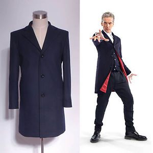 Who Is Doctor Twelveth 12th Dr Dark Blue Frock Coat Costume Custom Made | eBay