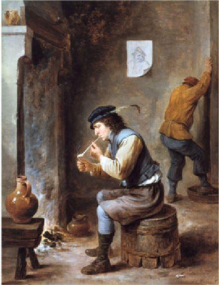 Давид Тенирс Младший (1610-1690) — Курильщик перед камином. Люксембург. Музей Пескатора.