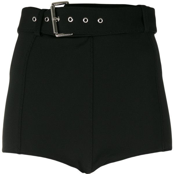 Versus belted jersey shorts ($301) ❤ liked on Polyvore featuring shorts, bottoms, black, spandex shorts, lycra shorts, jersey shorts and belted shorts