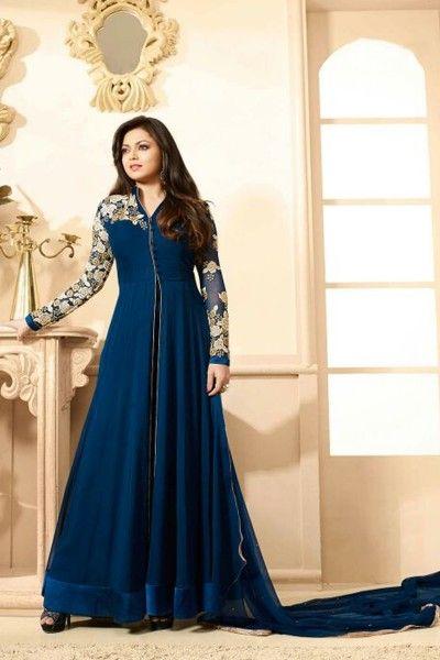 THANKAR NAVY BLUE EMBROIDERED GEORGETTE ANARKALI SUIT #SalwarSuit #BuySalwarSuitsOnline #DressesOnlineShopping #SalwarSuitsOnlineShopping http://www.thankar.com/store/salwar-suit/