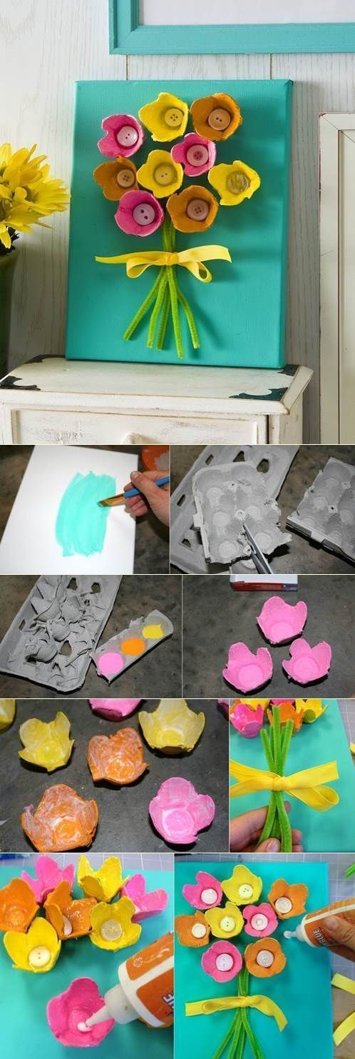 Egg carton Flower Bouquets- A Fun idea for Spring! #canvaspainting #canvas #can