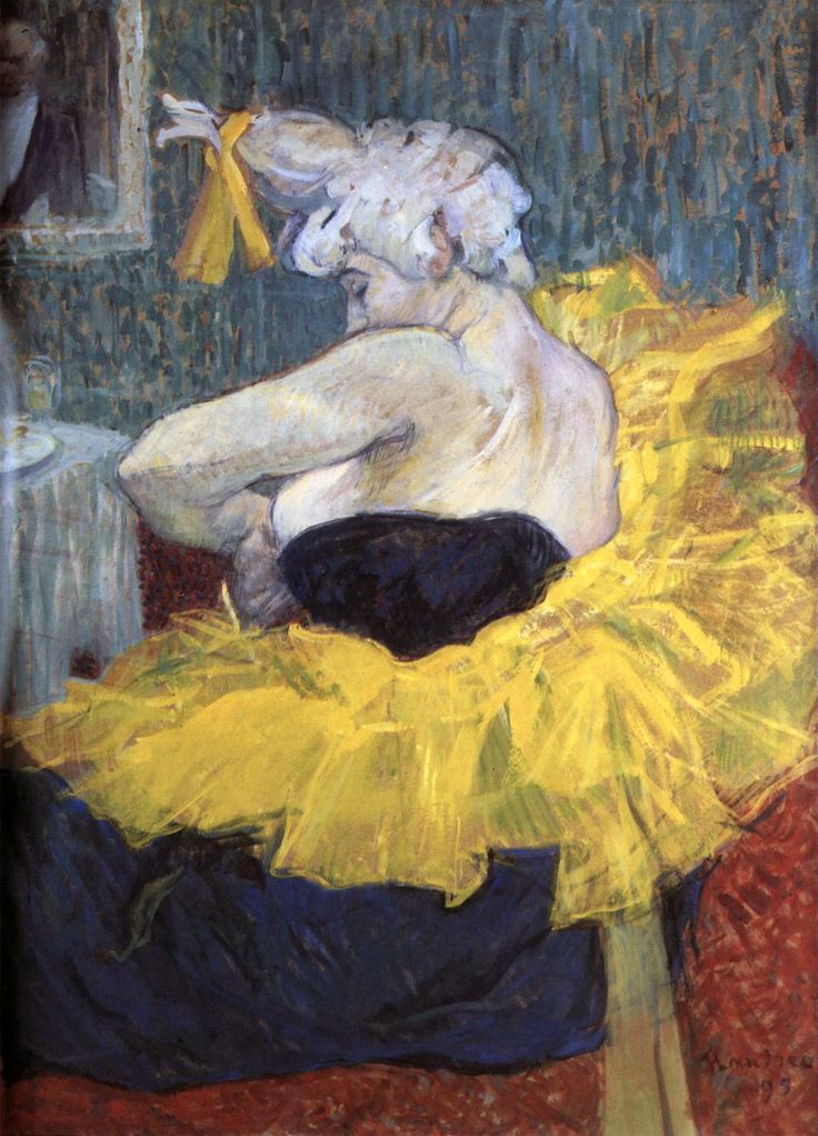 """A Palhaça Cha-U-Kao no Moulin Rouge (1895) Henri de Toulouse-Lautrec - Musée d'Orsay, Paris  Uma dançarina e palhaça no Nouveau Cirque e no Moulin Rouge, Cha-U-Kao deve seu nome que soa japonês à transcrição fonética das palavras francesas """"chahut"""" (uma dança acrobática derivada do cancan) e """"caos"""" Tumulto que ocorria quando ela entrava no palco."""