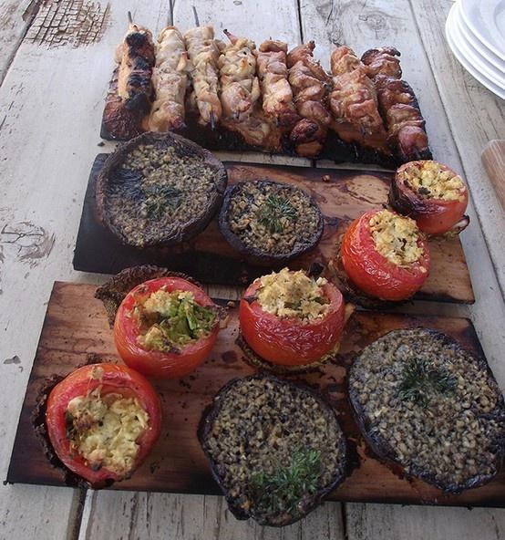Sosaties, Pesto & chilli mushrooms, stuffed tomatoes www.geobasket.co.za