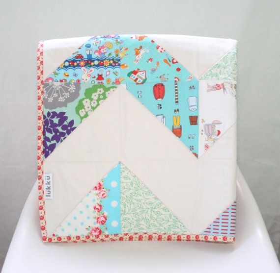Modern handmade baby quilt by Lukku on Etsy, $169.00