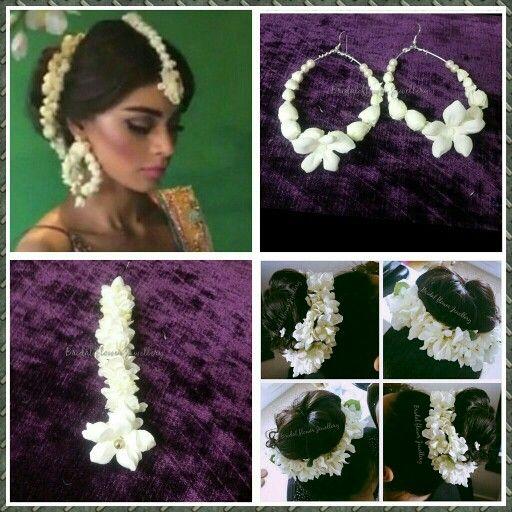 Artificial jasmine set created by bridal flower jewellery www.bridalflowerjewellery.weebly.com