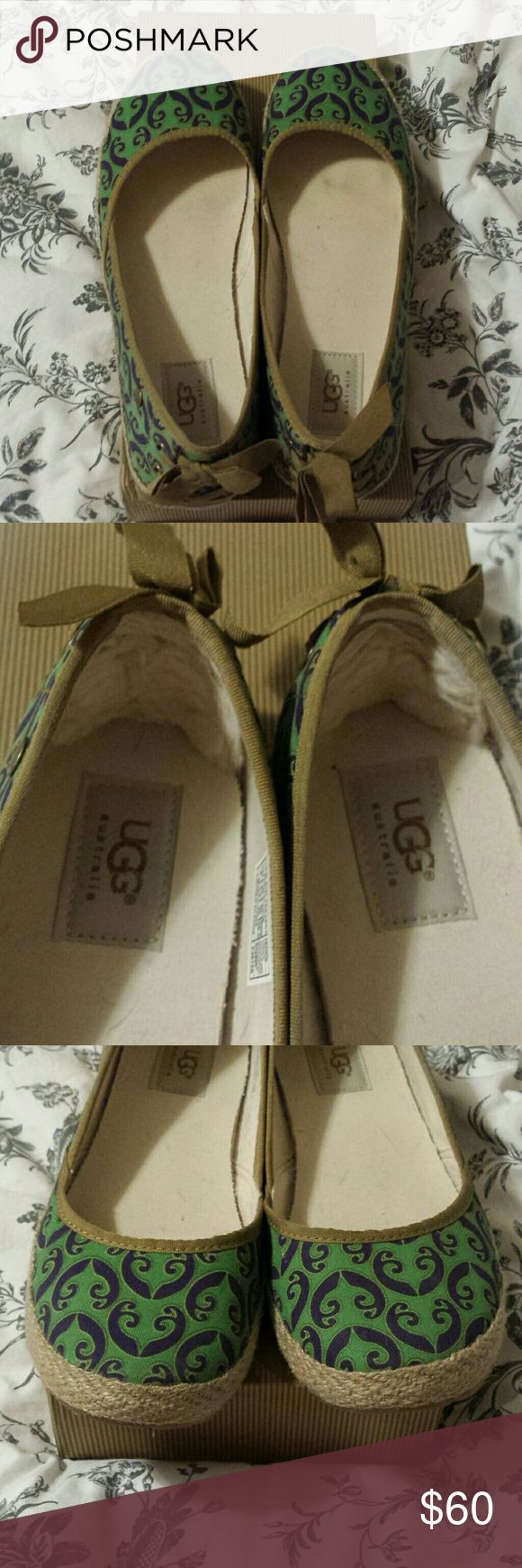 Ugg Flats. Indah Marrakech. NIB. Size 9. Kelly Green with Purple Pattern. Ugg Shearling at inner heel. Ribbon lace up and bow at outer heel.  I wear a 9.5 in other shoes and usually a 9 in Uggs. These fit like regular shoes, so probably a true 9.  I really wish they had worked. I love them!!!! UGG Shoes Espadrilles