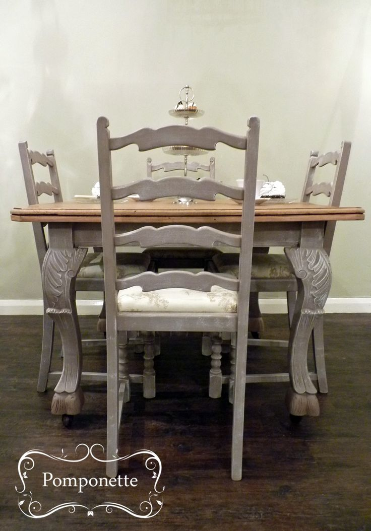 Bistro dining table 4 chairs chalk paint by annie for Unusual dining tables for sale