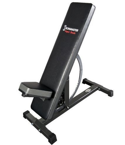 Heavy duty adjustable bench 1000lbs. Iironmaster bench has 11 positions and the options to add dip, sit-up and pull-up attachments. It does it all and more!