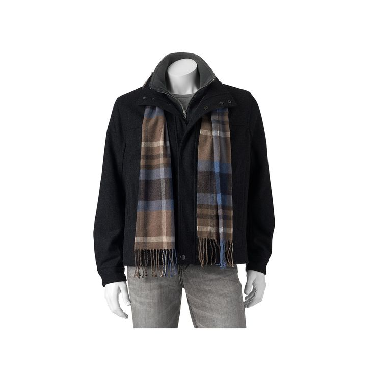 Big & Tall Towne Wool-Blend Hipster Jacket With Plaid Scarf, Men's, Size: Xxl Tall, Black