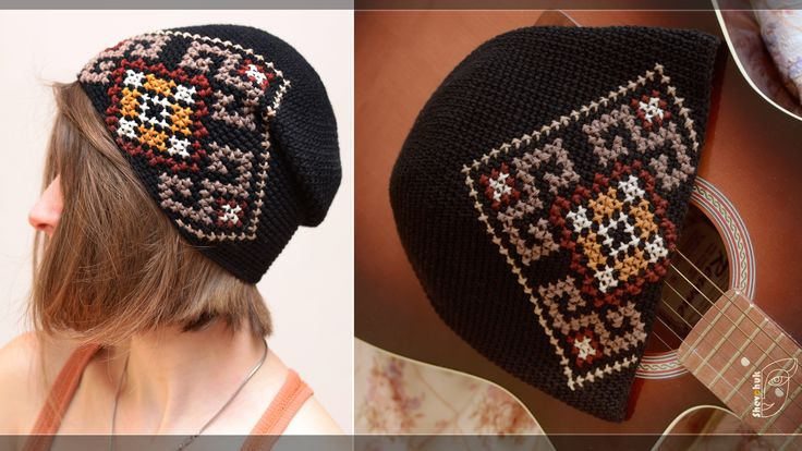 black knitted crochet hat with Ukrainian embroidery