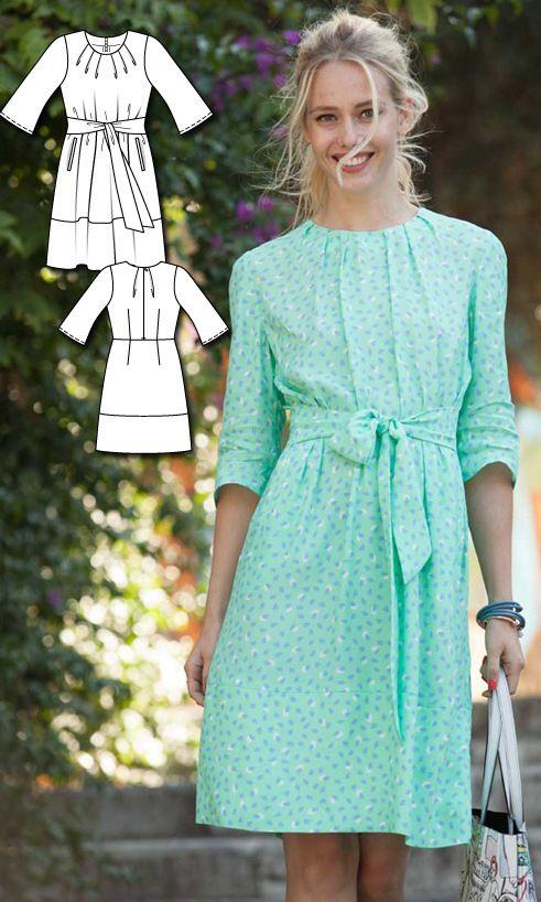 Tie Waist Dress Burda Mar 2016 #102A Pattern $5.99: http://www.burdastyle.com/pattern_store/patterns/tie-waist-dress-032016