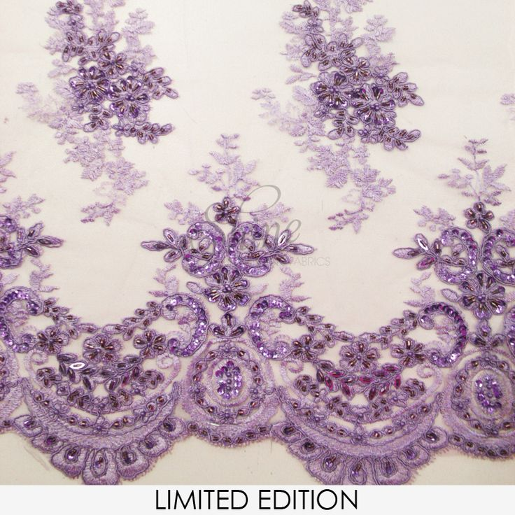 Beaded Lace with Scallopped Edge Lilac | Shine Trimmings & Fabrics