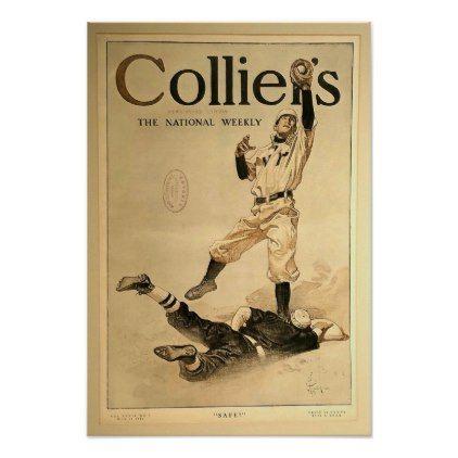 Baseball Poster Collier's Magazine Vintage Art - decor gifts diy home & living cyo giftidea