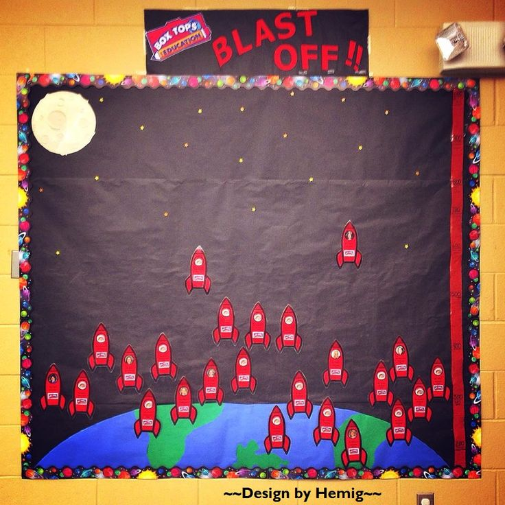 "Box Tops Board -- ""Box Tops Blast Off"" contest between classes -- Butcher paper background with decorative border, construction paper earth and moon, laminated rockets with teacher faces, Box Tops numbers on a strip of paper at the side -- Approximate cost $20 #boxtops #btfe"