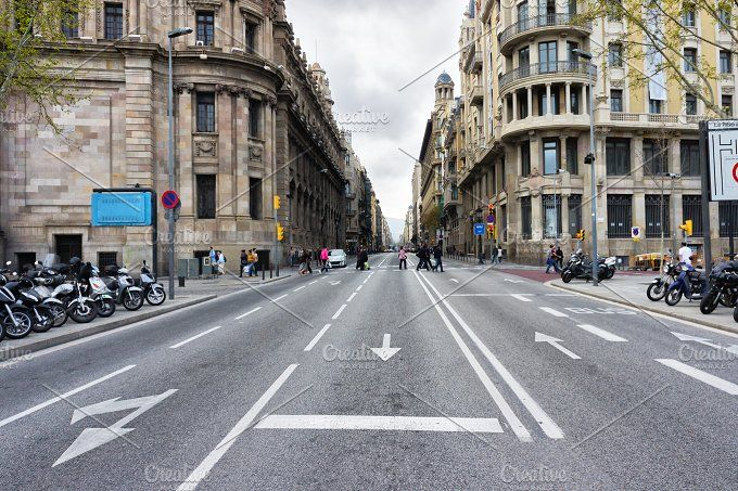 Empty Street Background With Wide Road And Buildings Barcelona Spain Street Background Barcelona Street Architecture Photo