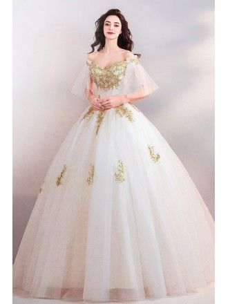 236b0618a7b Luxury White With Gold Embroidery Ball Gown Court Wedding Dress With Sleeves