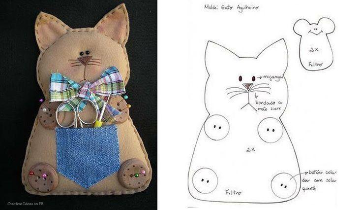 felt kitty with denim pocket.