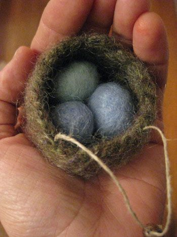 felted robin's nest ornament