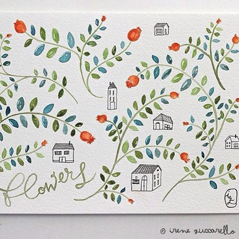 ©Irene Zuccarello | Provando carte, colori e pennelli... #watercolor #flowers #sketch #houses #drawing #illustration #practicing #colors #green #blue #red #black #acquarelli #disegno #fiori #case #casette #illustrazione #verde #blu #rosso #nero