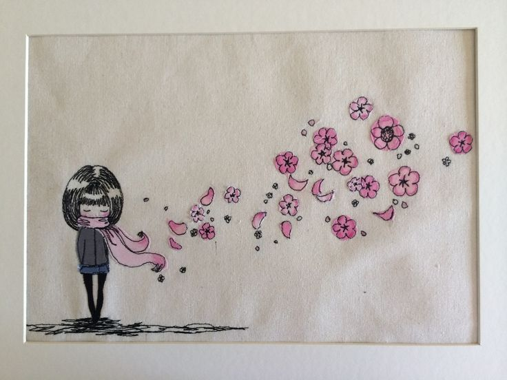 blossoms in the wind Freemotion embroidery wall art