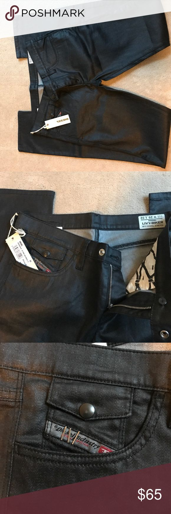 Diesel Pant Livy Biker Jeans NWT Diesel Jeans with shiny waxed like look! Perfect for fall! Cute details on pockets! Diesel Jeans Skinny