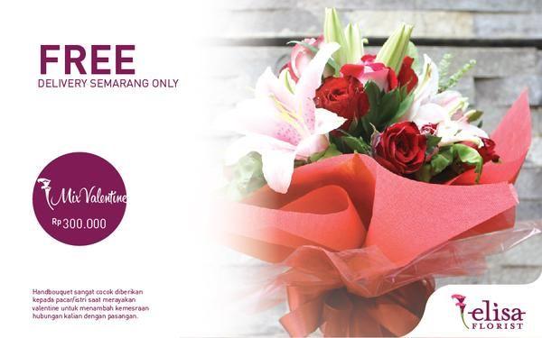 Bunga bouquet dari Elisa Florist Semarang... FREE DELIVERY AREA SEMARANG ONLY!  Silahkan diorder gan untuk membahagiakan pasangan Agan.  (HANYA MENERIMA ORDERAN DENGAN TUJUAN KOTA SEMARANG UNTUK BUNGA HIDUP) Untuk pemesanan diluar kota Semarang akan menggunakan bunga artificial / plastik. Bisa juga request model tertentu diluar model yang disediakan.  Small Red (250K) / Mix Valentine (300K) / Chocorose (500K) / Medium Rose (800K) / Big Love (1000K)