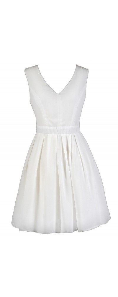 Ready To Party A-Line Dress in Off White  www.lilyboutique.com