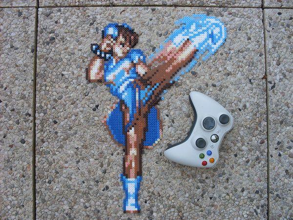 chun li street fighter 8-bit perler bead