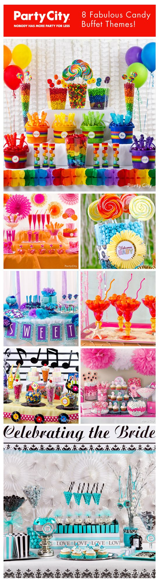 100+ candy buffet ideas for bridal shower or wedding, baby shower, birthday party, theme party, rainbow party ... SWEET! #partyfoods #partyideas #partythemes
