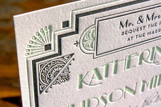 Great Gatsby Wedding Invitations by Lucky Luxe Couture Correspondence via Oh So Beautiful Paper (5)