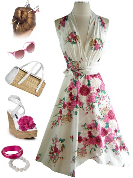Asian Florals- Retro dress idea.  Not the shoes, but the rest of it is me, even the hair.