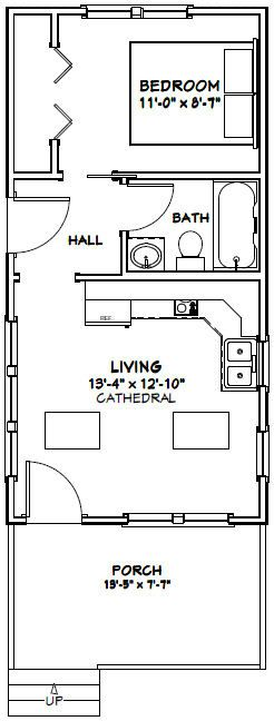 14x28 tiny house 14x28h3a 391 sq ft excellent floor plans - Tiny House Plans 2