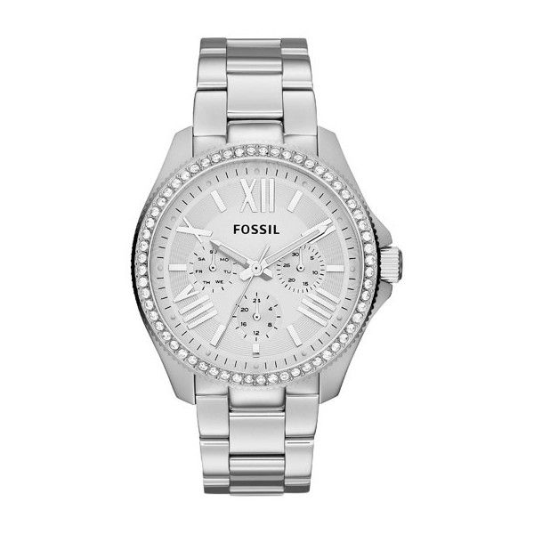 Fossil Watch - Cecile Chrono Silver - in silver - Watch for ladies ($205) ❤ liked on Polyvore featuring jewelry, watches, silver, sporty watches, analog wrist watch, silver watches, water proof watches and vintage wrist watch