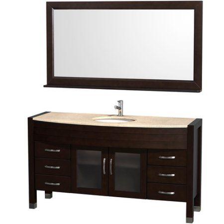 60 inch bathroom vanity mirror. wyndham collection daytona 60 inch single bathroom vanity in espresso, ivory marble countertop, white mirror .
