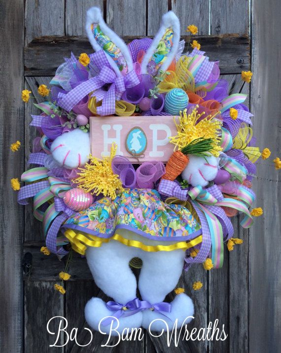 Bunny Wreath Bunny Easter Party Spring Wreath by BaBamWreaths