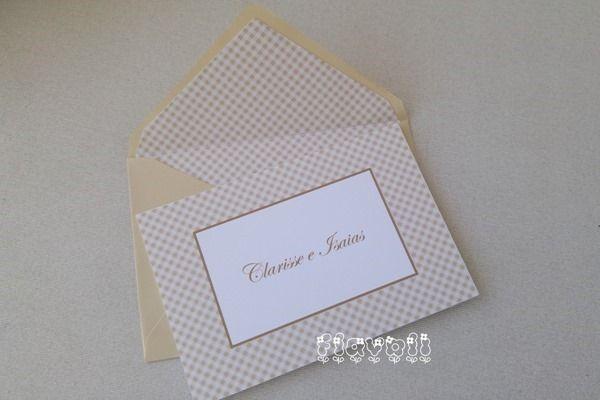 Cartão duplo com envelope forrado–Xadrez bege elegante  :: flavoli.net - Papelaria Personalizada :: Contato: (21) 98-836-0113 vendas@flavoli.net
