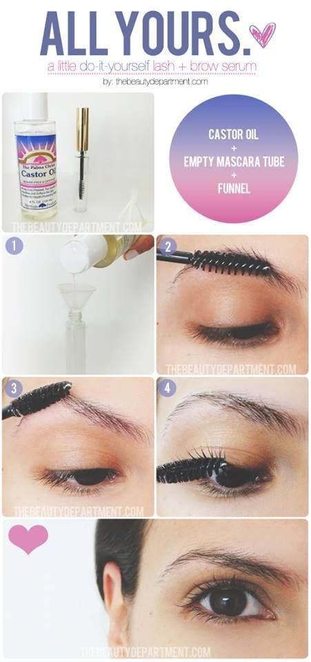 To help make your eyebrows and lashes grow use castor oil ;) Use castor oil daily to help sparse, over-plucked eyebrows grow back in, thicker. Side note FYI...This is naturally a v e r y strong antibacterial, it does amazing things for the skin. Just be warned, even though its an oil, after a few weeks of use, your skin will feel very dry, so use it with a carrier oil.