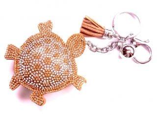 Teknős kristályos kulcstartó és táskadísz