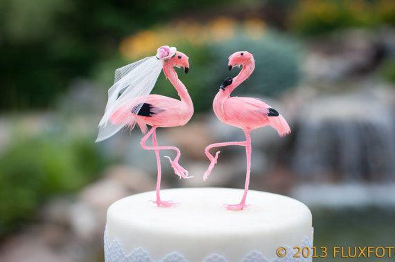 Pink Flamingo Cake Topper: Tropical Bride and Groom Love Bird Wedding Cake Topper