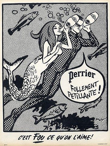 Perrier (Drinks) 1967 Submarine Divers Mermaid Forest Vintage advert Drinks illustrated by Forest | Hprints.com