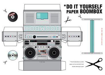paper boombox by elena kazi via behance 80s party ideas. Black Bedroom Furniture Sets. Home Design Ideas