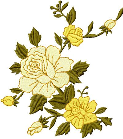 Free Yellow corner machine embroidery design