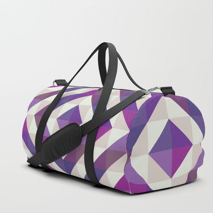 Patchwork Purples Duffle Bag by Fimbis    Ultra violet, purple, travel, bags, fashionista, symmetry, fashion, adventure, school bag, gym,