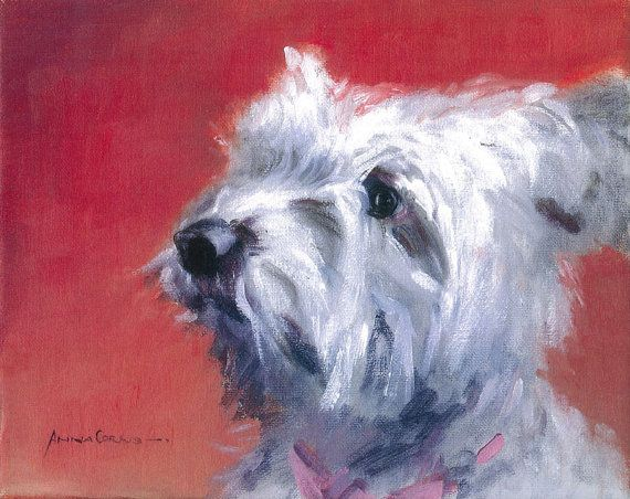 #Scottie #Dog Print of Oil on Canvas -A4- Fizzy, West Highland Terrier bought by Martin Clunes, 5% of profits #art